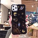 LIMITED Bling Luna Planeta Estrellas Teléfono Caso para iPhone 11 11Pro MAX XS MAX XR X 6S 6 7 8 Plus Cubierta Fundas De Dibujos Animados (Style 2,For iPhone 11)