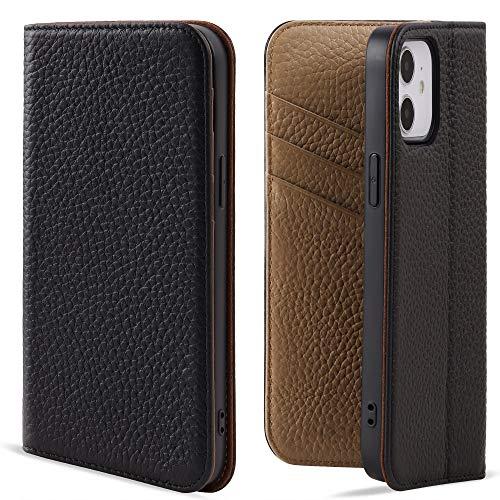 VISOUL iPhone 12 mini ケース 手帳型 本革 レザー 永久保証 衝撃吸収TPU素材 アイフォン12ミニ手帳型ケース マグネット式 カード収納 携帯カバー 2020年発売 iphone 12mini対応 5.4インチ アイホン12ミニ 手