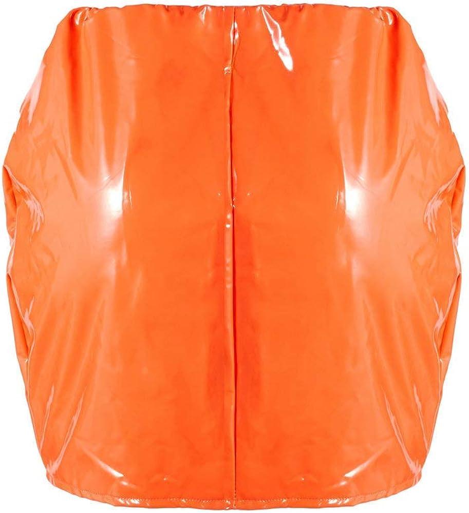 CiKiXZ Damen Lederrock Wetlook PU Leder Bleistiftrock Figurbetont Bodycon Mini Rock Hohe Taille Leather Skirt Hüftrock Orange
