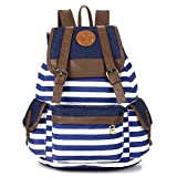 Rbenxia Canvas Backpack School Bag Stripe School College Bag for Teens Students Unisex Shoulder...