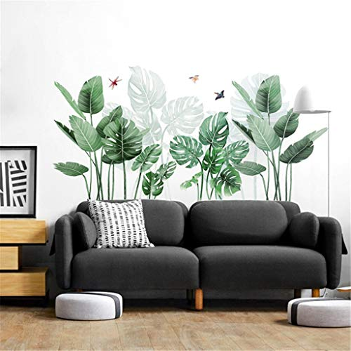 NBKLSD Plantas Tropicales Hojas engomadas de la Pared Arte de la Planta Verde Fondos hogar Moderno Etiqueta del Vinilo de Pared Plantas Verdes Pegatinas (Color : A 89x43cm)