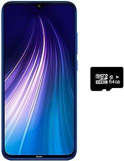 "Xiaomi Redmi Note 8 (128GB, 4GB) 6.3"",Quad Camera, Dual SIM GSM Factory Unlocked - US & Global 4G LTE International Version (Neptune Blue, 128GB + 64GB SD + Case Bundle)"