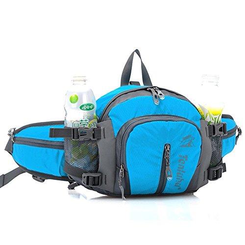 SINOKAL Bolso de Cintura Multifuncional con Estilo Militar de Lona Resistente al Agua, Riñonera para Correr, Caminar, Ciclismo, Escalar, Acampar y para Viajes (Azul)