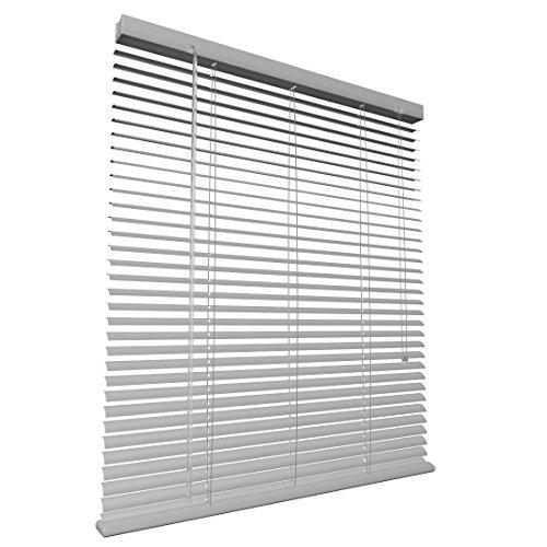 Levivo Persiana de aluminio con cordón de tracción, longitud acortable individualmente, protección visual, contra la luz y el deslumbramiento, fácil montaje, Blanco, 100 x 130 cm