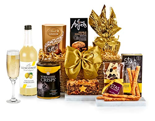 Chedworth Hamper with Alcohol-Free Pressé - Hand Wrapped Gourmet Food Basket, in Gift Hamper Box