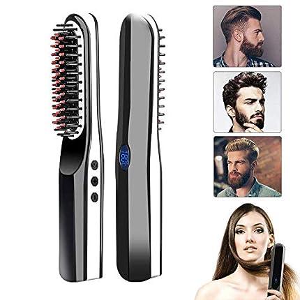 Beard Straightener, lesgos New USB Rechargeable Inalámbrico Cepillo Alisador de Pelo, Portátil Anti Escaldado Barba Alisador Plancha Peine Alisador para Todo Tipo de Cabello