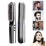 lesgos Brosse Lissante Barbe, Latest USB Rechargeable sans Fil Chauffante Brosse Lissante Cheveux, Portative Anti-brûlure Lisseur Barbe Peigne Beard Straightener pour Tout Type de Cheveux