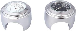 Garneck 2 peças de relógio de guidão de motocicleta e termômetro, relógios luminosos que brilham para moto e carro