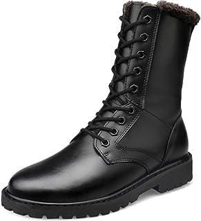 FCBDXN Hommes Haut-Top Martin Bottes À Bout Rond Chaussures Décontractées En Cuir Véritable Botte Randonnée En Plein Air C...