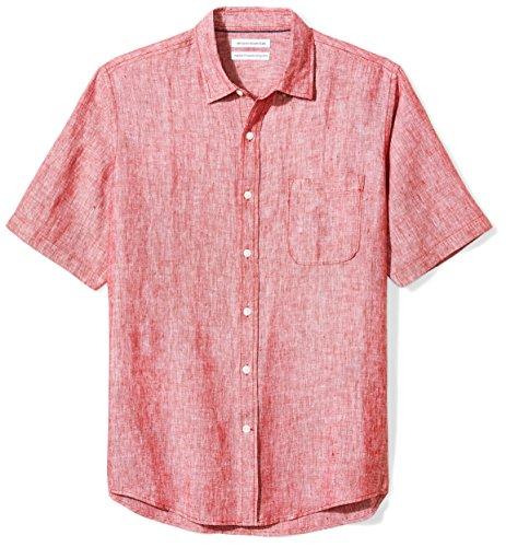 Amazon Essentials - Camisa a cuadros de lino con manga corta para hombre., Rojo, US S (EU S)