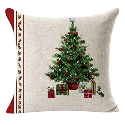 Fhuuly Leinen Kissenhülle 45x45 cm Sofa Auto Bett Dekoratives Kissenbezug Weihnachten Zierkissenbezüge Kissenüberzug (Q)
