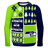 Forever Collectibles Seattle Seahawks Men's NFL Busy Block Ugly Sweater -