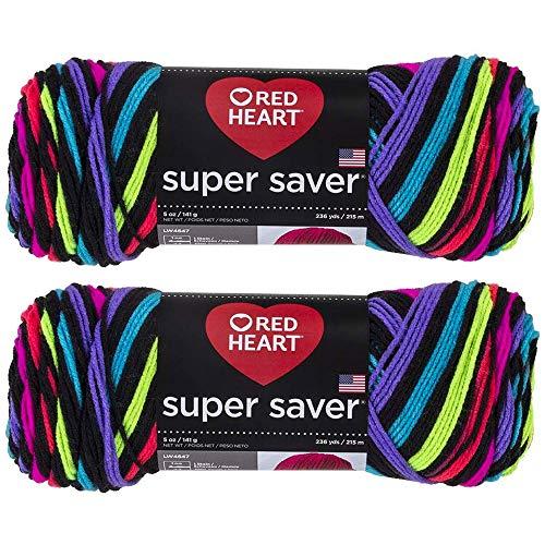 Bulk Buy: Red Heart Super Saver (2-Pack) (Neon, 5 oz Each Skein)