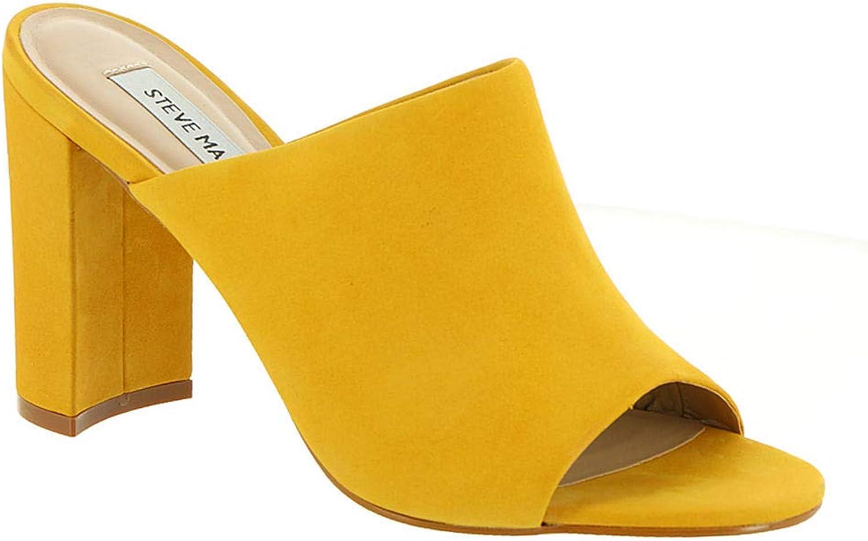 Steve Madden Womens Esmeralda Nubuck Block Heel Slide Sandals