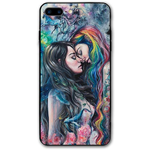 iPhone 8 Plus Case, iPhone 7 Plus Case, Goth Gothic Girl Lace Love LGBT Lesbian Soft Bumper Case Shockproof Full-Body Protective Case Cover for iPhone 7 Plus /8 Plus 5.5'' Black