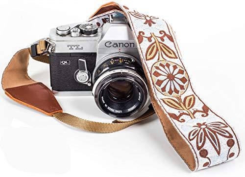 White Woven Vintage Camera Strap for All DSLR Camera. Embroidered Elegant Universal Neck & Shoulder Strap, Floral Pattern, Stocking Stuffer for Men & Women Photographers