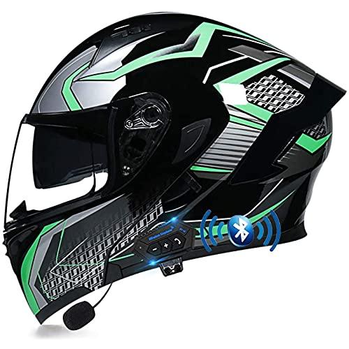 Casco de Moto Modular Bluetooth Integrado,con Doble Visera Cascos de Motocicleta ECE Homologado Micrófono Incorporado para Adultos Hombres Mujeres A,M57~58CM