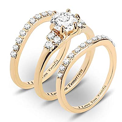 Burpada Gold Plated Diamond Ring Wedding Rings Set for Women CZ Simulated Three-in-One Stackable Ring