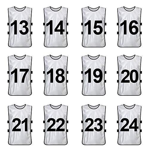 TopTie Chaleco de Entrenamiento numerado/en Blanco Pinnies de Futbol Conjuntos de 12 White (#13 to 24-XL