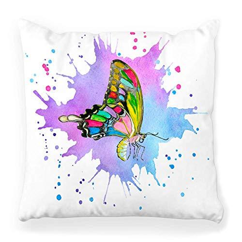 Funda de Cojine Funda de almohada decorativa Mariposa Arte abstracto Animal Belleza artística Cepillo azul Color Colorido Decoración creativa Decoración Throw Cojín 45X45CM