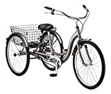 Schwinn Meridian Adult Tricycle with 26-Inch Wheels in Dark Silver, with Low Step-Through Aluminum Frame, Front and Rear Fenders, Adjustable Handlebars, Large Cruiser Seat, and Rear Folding Basket