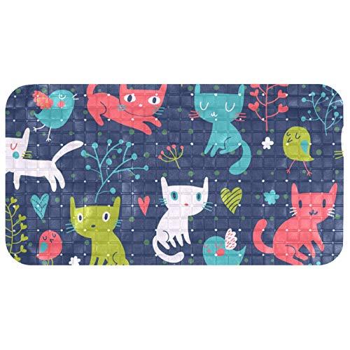 Xingruyun Badematte für Kinder Farbe Süße Katze Badewannenmatten rutschfest Duschmatte mit 112 Saugnäpfe Für Babys Kleinkinder ältere 37.5x68.5 cm