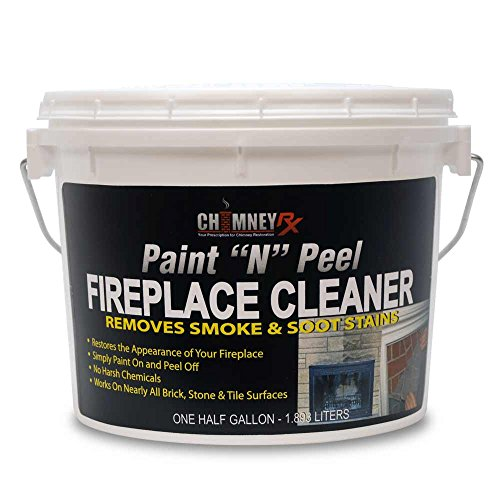 of cleaning fireplace stones CHIMNEYRX Paint & Peel Fireplace Cleaner, 1/2 Gallon - Removes Fireplace Smoke & Soot Stains From Brick, Tile, & Stone Surfaces
