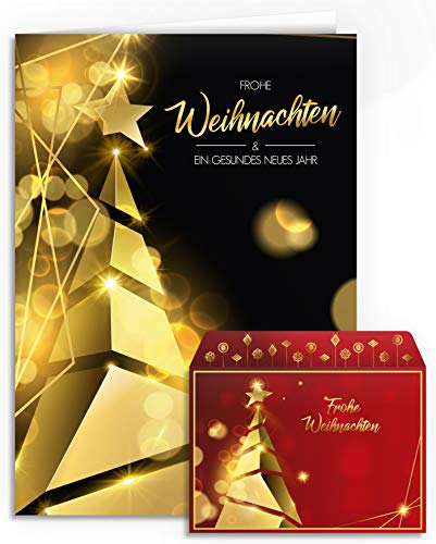 Weihnachtskarten mit Umschlägen - 20 Stück | Christbaum Design - Modern | Für Familie, Freunde & geschäftlich | Edel Weihnachtskarten-Set Gold Klappkarten mit Umschlag Set Rot Schwarz Tannenbaum