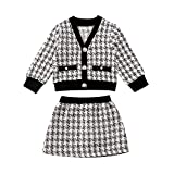 Toddler Baby Girl Plaid Skirt Dress Set Long Sleeve Cardigan Jacket Coat & Skirt Dress Outfit Fall Winter Clothes (Black and White Plaid B, 6-12 Months)