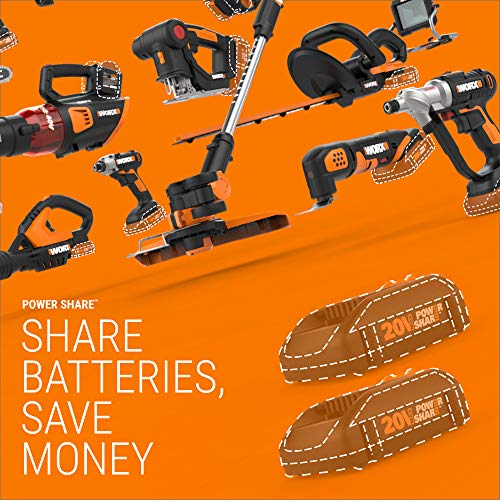WORX WG644.9 40V Power Share Hydroshot Portable Power Cleaner (2x20V) - Bare Tool Only,Black and Orange