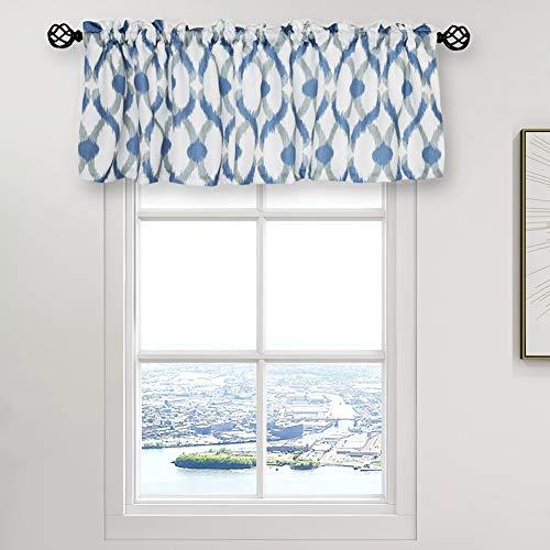 "oremila Kitchen Curtain Valance 54"" x 15"" Multicolor Geometric Window Valance for Kitchen and Bathroom, Rod Pocket, Navy/Gray"