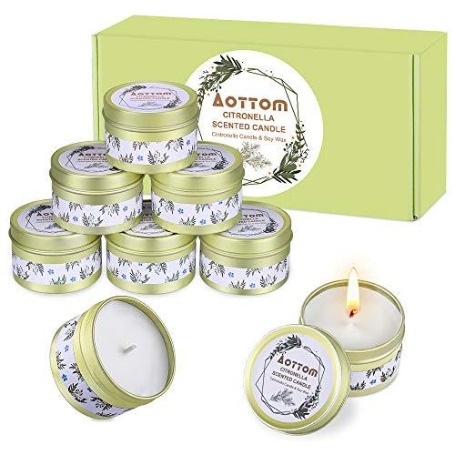 Aottom Citronella Kerze Outdoor,Natürliche Sojawachs Citronella Zitrone Kerzen für Draussen Indoor Teelichter Candles für Garten,Balkon,Grillen,Camping - 8*2,5 OZ(20 Stunden BrenndauerJede Kerze)