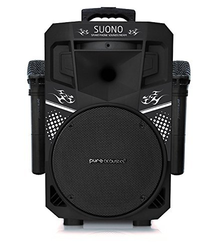 Pure Acoustics Wireless Portable Bluetooth PA Audio Speaker with 2 Wireless Microphones FM Radio...
