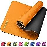 arteesol rutschfeste Yogamatte, Gymnastikmatte, für Damen und Herren, 0,6 cm dick, umweltfreundliches TPE, reißfest, schweißresistent, 183 cm L x 61 cm B, Orange