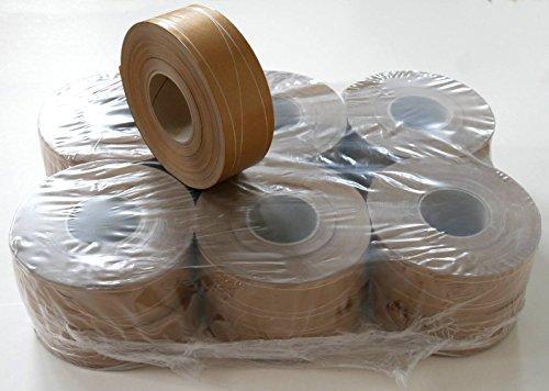 12 Rollen Naßklebeband 60 mm x 200 lfm, mit 2 Parallel- und 1 Sinusfaden verstärkt (geeignet für alle halbautomatischen und automatischen Streifengeber)