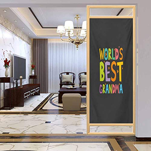 "W 17.7"" x L 78.7"" UV Glass Film Window Home Office Living Room,Best Grandmother Quote with Colorful Letters Doodle Stars on Greyscale BackgroundMulticolor"