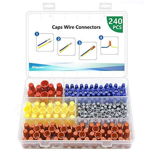 240 Pcs Electrical Wire Connectors Screw Terminals - Twist Nuts Caps Wire Connection, Spring Insert Assortment kit