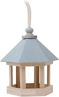 niumanery Wooden Hanging Wild Bird Feeder Dispenser Seed Feeding Container Garden Decor Blue
