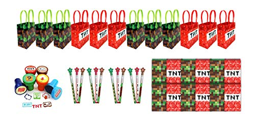 TINYMILLS Pixel Miner Party Favor Set of 60 Pcs (12 Treat Bags, 24 self-inking stampers, 12 multi-point pencils, 12 small spiral notepads)