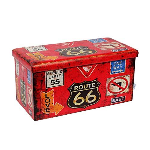 Bonlife Taburetes Asientos Almacenamiento Baúl Plegable para Guardar Juguetes Bancos de Dormitorio Banco Pie de Cama Rojo 76x38x38cm