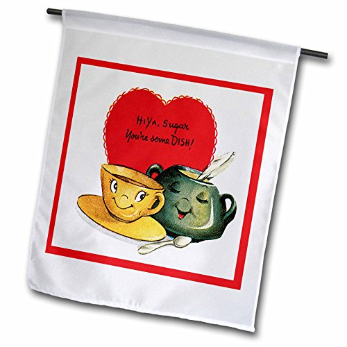 3dRose FL_170258_1 Hiya Sugar You're Some Dish Cute Sugar Blow and Coffee Cup Garden Flag, 12 by 18-Inch