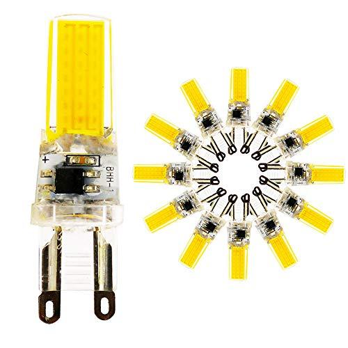 G9 5W COB LED-lamp, warmwit 3000K 500 lumen 80Ra, vervanging 50W halogeenlampen, 360° stralingshoek, full glas body energiebesparend AC 220-240V nee dimbaar - 12-pack