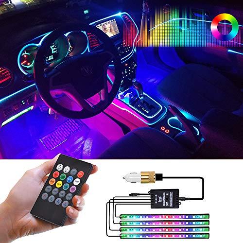 Car Lights Interior,LED Strip Lights for Cars Waterproof 4pcs 48 LED Lighting Kits, Multi DIY Color Music Under Dash Car Lighting with Car USB Charger,DC 12V