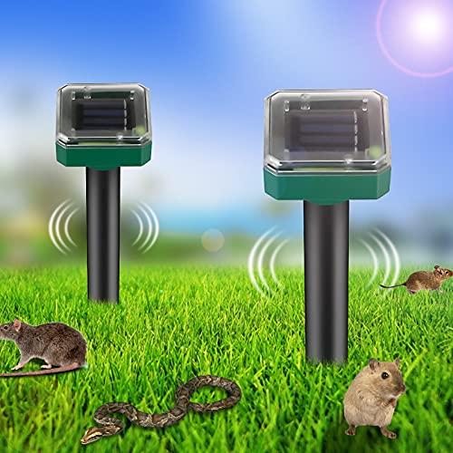 2 Stück Wühlmausschreck solar, Solar Maulwurfabwehr mit IP56 Wasserdicht, Ultraschall Maulwurfschreck Garten, Maulwurfbekämpfung, Wühlmausschreck, Mole Repellent, Schädlingsbekämpfung für Den Garten