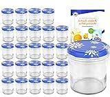 MamboCat Set di 25 vasetti in vetro da 350 ml a 82 coperchi con fiocchi di neve incl. libro di ricette per marmellate e conserve