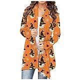NHNKB Cárdigan largo para mujer, chaqueta fina, parte frontal abierta, chaqueta ligera, chaqueta de punto, abrigo de Halloween, disfraz informal, muy elástico, G Orange, L