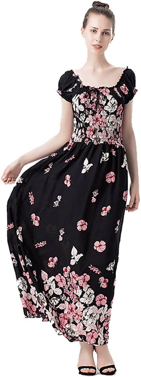 Women's Summer Cold Shoulder Dresses Casual Dress Ladies Print Puff Sleeves European and American Style Beach Slim Holiday Long Skirt,Pink,XXL
