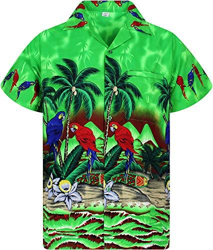 V.H.O. Funky Hawaiihemd, Kurzarm, Papagei, grün, XXL