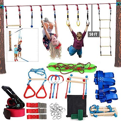 YYXT Slackline Hindernisse für Kinder Klettertau für Anfänger Ninja Line -Mit Kletternetz, Schaukel, Monkey Bars, Lenkrad, Fitness-Ring, Strickleiter, Spaß Training Kit Geschenk