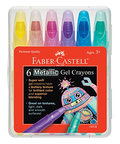 Faber-Castell Metallic Gel Crayon Set - 6 Twistable Gel Crayons for Kids